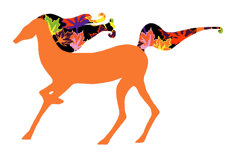 Illustration of a running horse with a mane of spooky groovy leaves